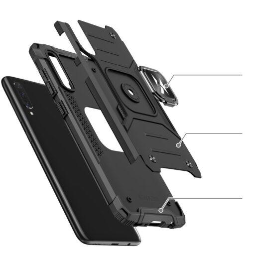 Samsung A70 tugev umbris Ring Armor plastikust taguse ja silikoonist nurkadega must 3