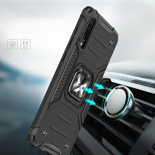 Samsung A70 tugev umbris Ring Armor plastikust taguse ja silikoonist nurkadega must 5