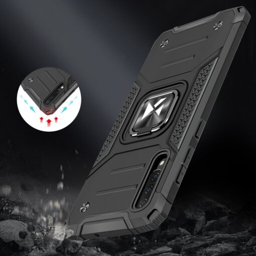 Samsung A70 tugev umbris Ring Armor plastikust taguse ja silikoonist nurkadega must 6