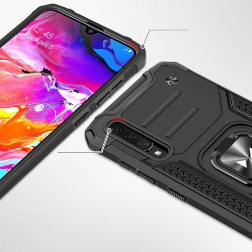 Samsung A70 tugev umbris Ring Armor plastikust taguse ja silikoonist nurkadega punane 1