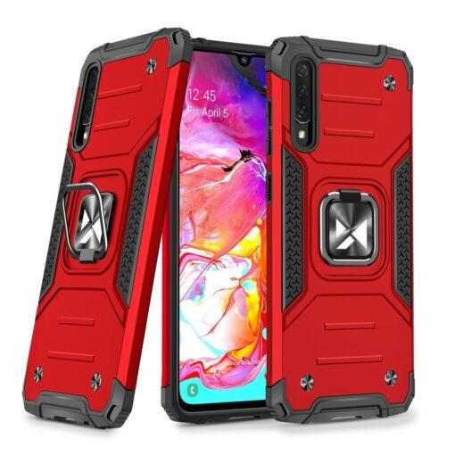 Samsung A70 tugev umbris Ring Armor plastikust taguse ja silikoonist nurkadega punane