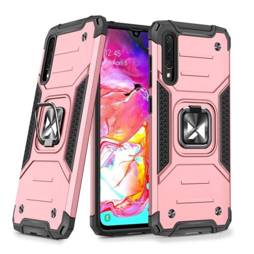 Samsung A70 tugev umbris Ring Armor plastikust taguse ja silikoonist nurkadega roosa
