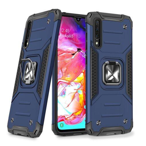 Samsung A70 tugev umbris Ring Armor plastikust taguse ja silikoonist nurkadega sinine