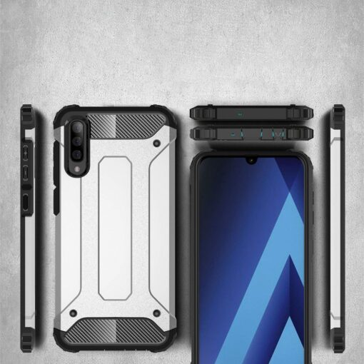 Samsung A70 umbris Hybrid Armor plastikust taguse ja silikoonist raamiga kuldne 2