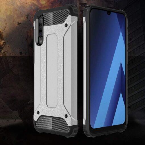 Samsung A70 umbris Hybrid Armor plastikust taguse ja silikoonist raamiga must 7