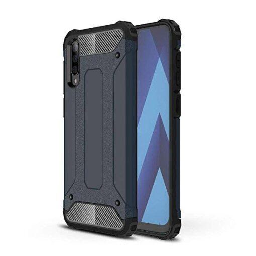 Samsung A70 umbris Hybrid Armor plastikust taguse ja silikoonist raamiga sinine