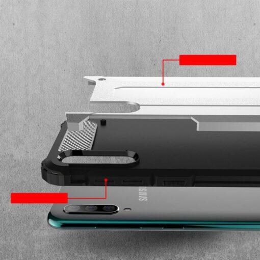 Samsung A70 umbris Hybrid Armor plastikust taguse ja silikoonist raamiga sinine 7