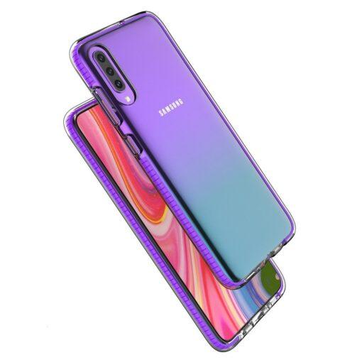 Samsung A70 umbris silikoonist varvilise raamiga roosa 1