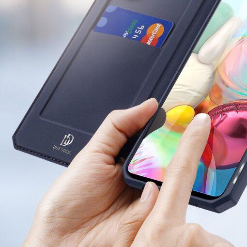 Samsung A71 kunstnahast kaaned kaarditaskuga DUX DUCIS Skin Pro must 11