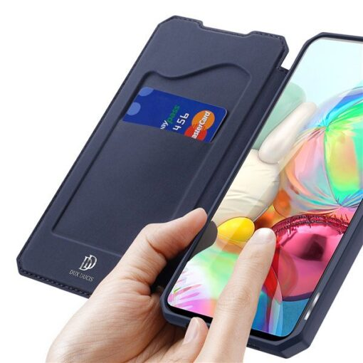 Samsung A71 kunstnahast kaaned kaarditaskuga DUX DUCIS Skin Pro must 3