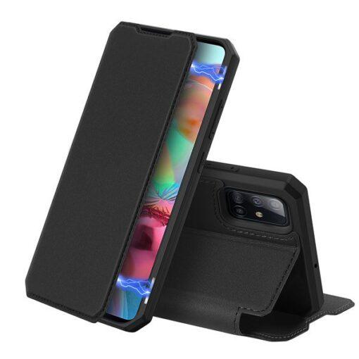 Samsung A71 kunstnahast kaaned kaarditaskuga DUX DUCIS Skin Pro must