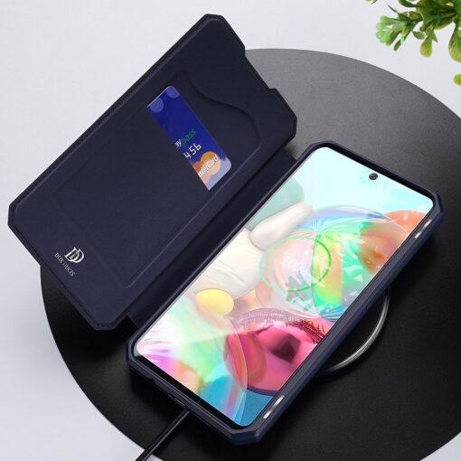 Samsung A71 kunstnahast kaaned kaarditaskuga DUX DUCIS Skin Pro must 8