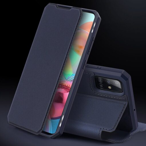 Samsung A71 kunstnahast kaaned kaarditaskuga DUX DUCIS Skin Pro must 9