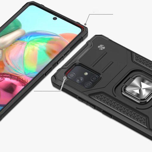 Samsung A71 tugev umbris Ring Armor plastikust taguse ja silikoonist nurkadega must 1