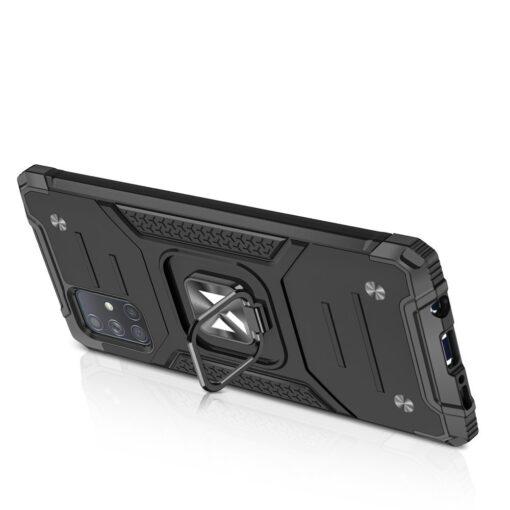 Samsung A71 tugev umbris Ring Armor plastikust taguse ja silikoonist nurkadega must 3