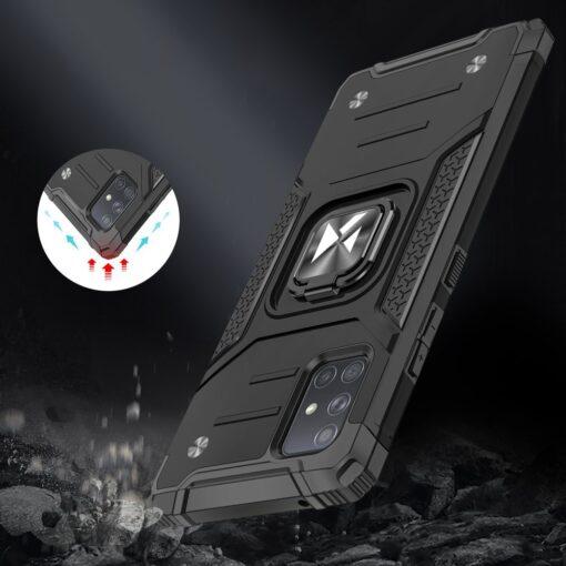 Samsung A71 tugev umbris Ring Armor plastikust taguse ja silikoonist nurkadega must 6