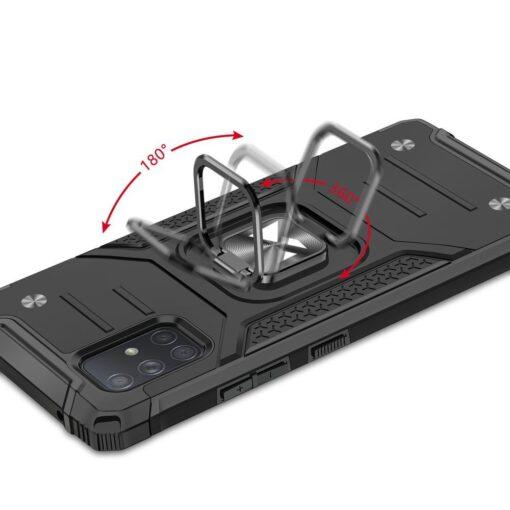 Samsung A71 tugev umbris Ring Armor plastikust taguse ja silikoonist nurkadega punane 4