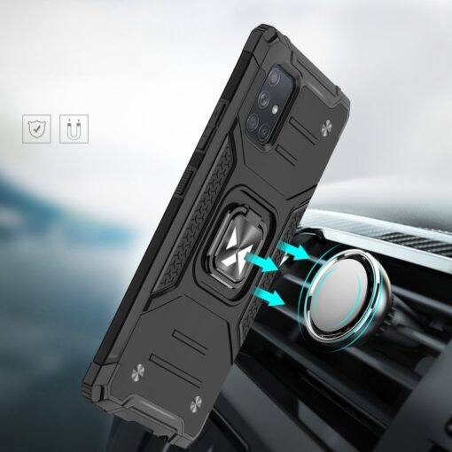 Samsung A71 tugev umbris Ring Armor plastikust taguse ja silikoonist nurkadega punane 5