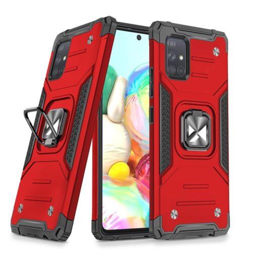 Samsung A71 tugev umbris Ring Armor plastikust taguse ja silikoonist nurkadega punane