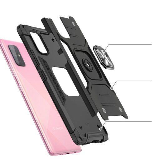 Samsung A71 tugev umbris Ring Armor plastikust taguse ja silikoonist nurkadega roosa 3