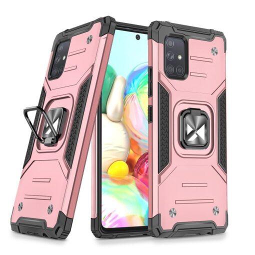 Samsung A71 tugev umbris Ring Armor plastikust taguse ja silikoonist nurkadega roosa