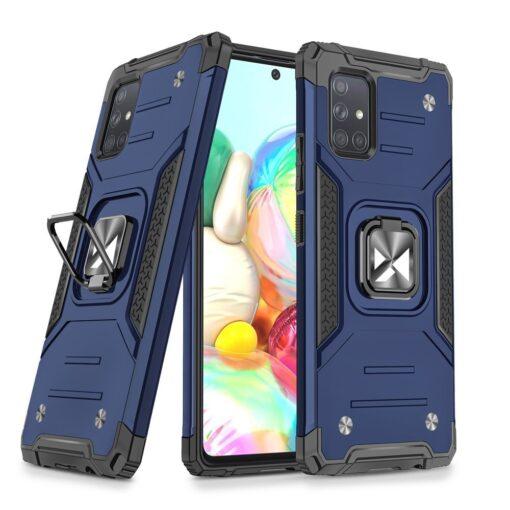 Samsung A71 tugev umbris Ring Armor plastikust taguse ja silikoonist nurkadega sinine