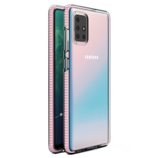 Samsung A71 umbris silikoonist varvilise raamiga roosa