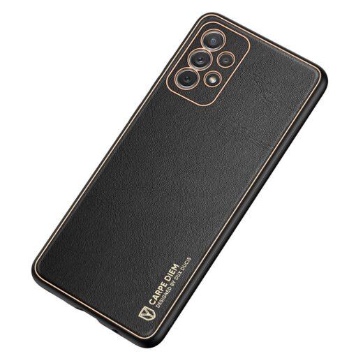 Samsung A72 umbris Dux Ducis Yolo elegant kunstnahast ja silikoonist servadega must 1