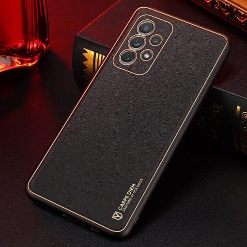 Samsung A72 umbris Dux Ducis Yolo elegant kunstnahast ja silikoonist servadega must 12