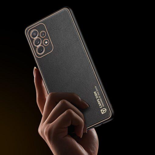 Samsung A72 umbris Dux Ducis Yolo elegant kunstnahast ja silikoonist servadega must 8