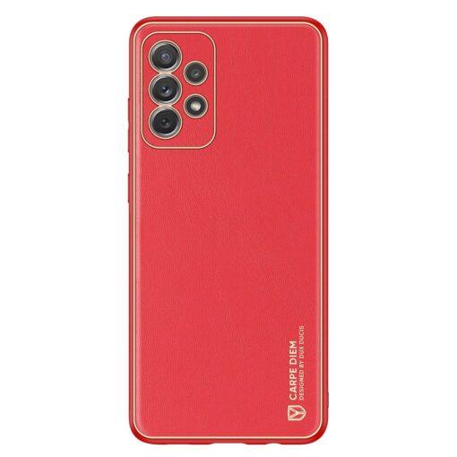 Samsung A72 umbris Dux Ducis Yolo elegant kunstnahast ja silikoonist servadega punane 1