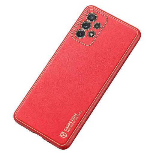 Samsung A72 umbris Dux Ducis Yolo elegant kunstnahast ja silikoonist servadega punane 3