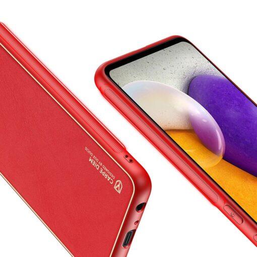 Samsung A72 umbris Dux Ducis Yolo elegant kunstnahast ja silikoonist servadega punane 7