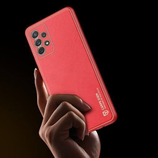 Samsung A72 umbris Dux Ducis Yolo elegant kunstnahast ja silikoonist servadega punane 8