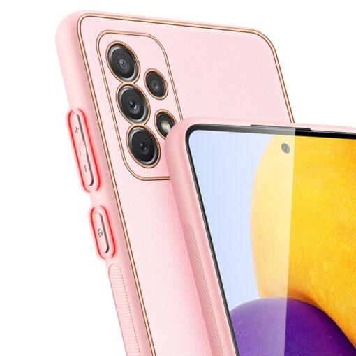 Samsung A72 umbris Dux Ducis Yolo elegant kunstnahast ja silikoonist servadega roosa 3
