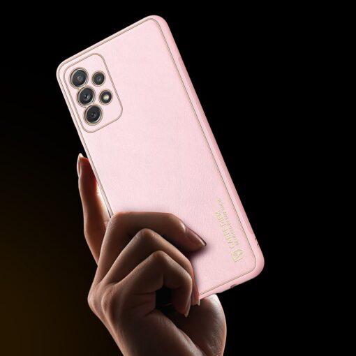 Samsung A72 umbris Dux Ducis Yolo elegant kunstnahast ja silikoonist servadega roosa 8