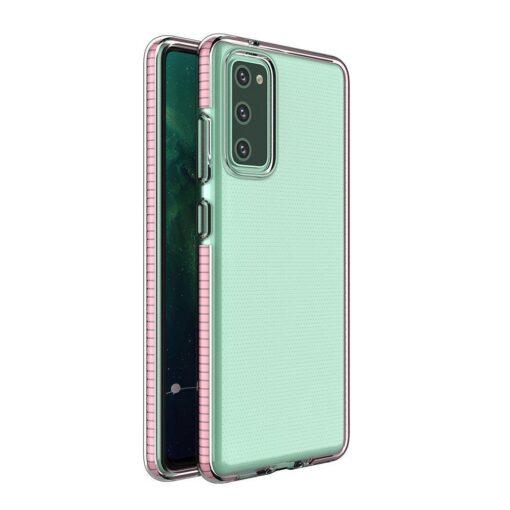Samsung A72 umbris silikoonist varvilise raamiga roosa