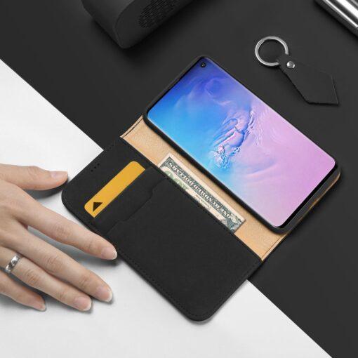 Samsung S10 kaaned nahast kaarditasku ja rahataskuga DUX DUCIS Wish must 1