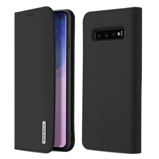 Samsung S10 kaaned nahast kaarditasku ja rahataskuga DUX DUCIS Wish must
