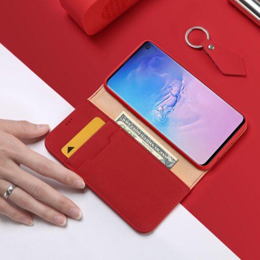 Samsung S10 kaaned nahast kaarditasku ja rahataskuga DUX DUCIS Wish punane 1