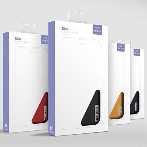 Samsung S10 kaaned nahast kaarditasku ja rahataskuga DUX DUCIS Wish punane 18