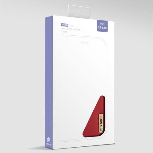 Samsung S10 kaaned nahast kaarditasku ja rahataskuga DUX DUCIS Wish punane 19