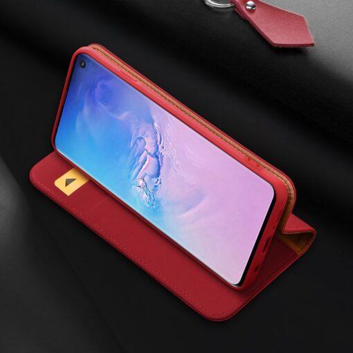 Samsung S10 kaaned nahast kaarditasku ja rahataskuga DUX DUCIS Wish punane 3