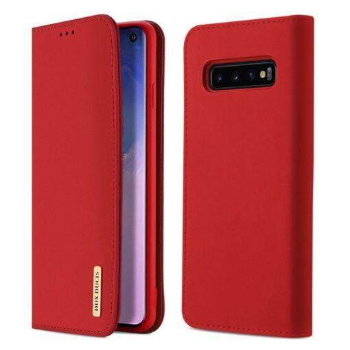 Samsung S10 kaaned nahast kaarditasku ja rahataskuga DUX DUCIS Wish punane