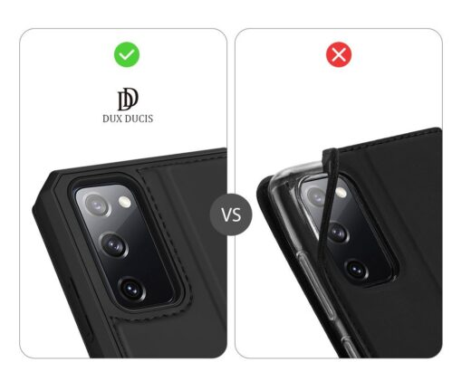Samsung S20 FE kunstnahast kaaned kaarditaskuga DUX DUCIS Skin Pro must 10