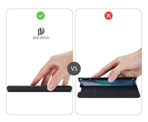 Samsung S20 FE kunstnahast kaaned kaarditaskuga DUX DUCIS Skin Pro must 11