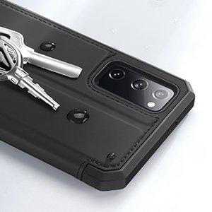 Samsung S20 FE kunstnahast kaaned kaarditaskuga DUX DUCIS Skin Pro must 12