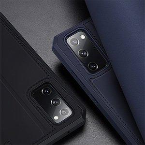 Samsung S20 FE kunstnahast kaaned kaarditaskuga DUX DUCIS Skin Pro must 17