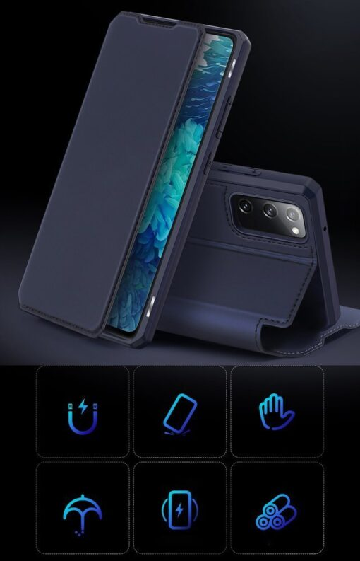 Samsung S20 FE kunstnahast kaaned kaarditaskuga DUX DUCIS Skin Pro must 18