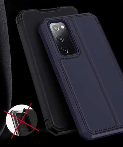 Samsung S20 FE kunstnahast kaaned kaarditaskuga DUX DUCIS Skin Pro must 19